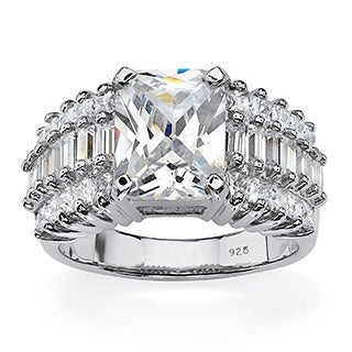 PalmBeach 5.54 TCW Emerald-Cut Cubic Zirconia Triple-Row Ring in Platinum over Sterling Silver Glam CZ