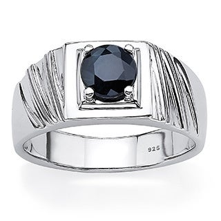PalmBeach Men's 1.41 TCW Round Midnight Blue Genuine Sapphire Sterling Silver Classic Ring