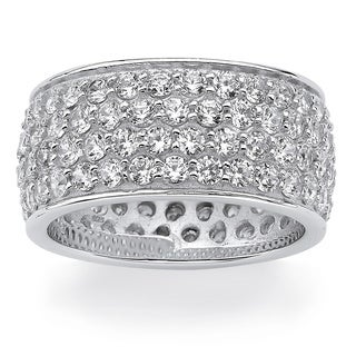 PalmBeach 3.30 TCW Round Cubic Zirconia Platinum over Sterling Silver Eternity Band Glam CZ