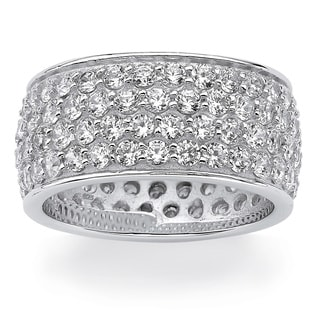 3.30 TCW Round Cubic Zirconia Platinum over Sterling Silver Eternity Band Glam CZ