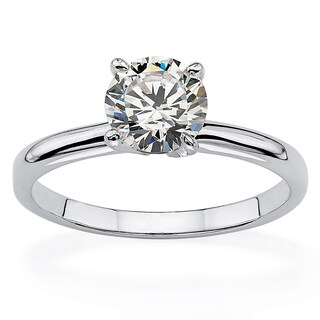 1.07 TCW Round Cubic Zirconia Sterling Silver Bridal Engagement Traditional Solitaire Ring (More options available)
