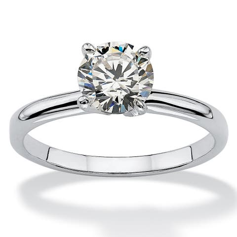 Sterling Silver Cubic Zirconia Solitaire Engagement Ring - White