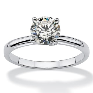 Link to Sterling Silver Cubic Zirconia Solitaire Engagement Ring - White Similar Items in Rings
