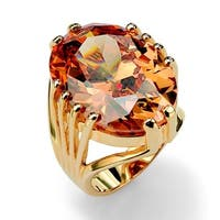 Yellow Gold-plated Champagne Cubic Zirconia Cocktail Ring