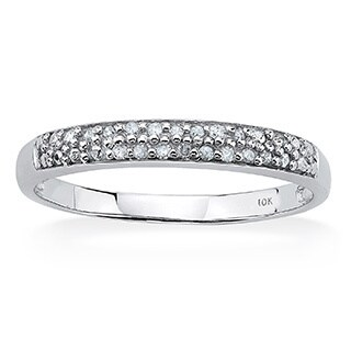 PalmBeach Diamond Accent Double Row Ring in 10k White Gold