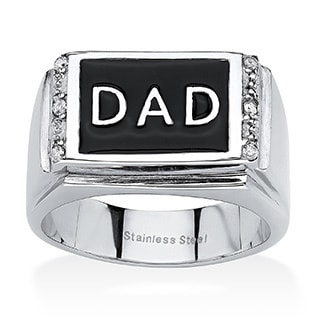 "PalmBeach Men's Round Crystal ""Dad"" Ring in Stainless Steel & Black Enamel"
