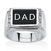 "Men's Round Crystal ""Dad"" Ring in Stainless Steel & Black Enamel"