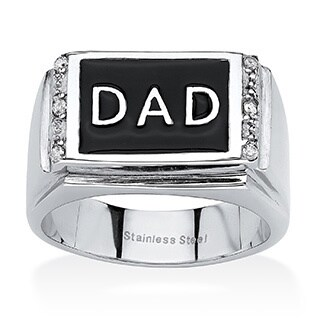 "Men's Round Crystal ""Dad"" Ring in Stainless Steel & Black Enamel (2 options available)"