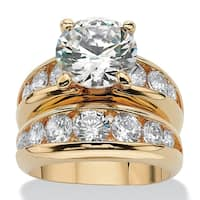 Yellow Gold-plated Cubic Zirconia Channel Set Bridal Ring Set - White