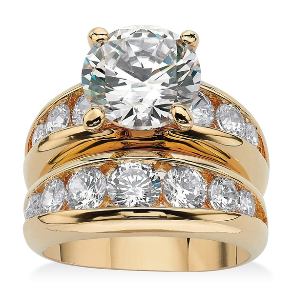 6.09 TCW Round Cubic Zirconia Two-Piece Bridal Set 14k Gold-Plated Glam CZ