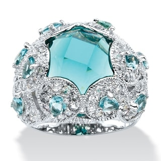 Simulated Aquamarine and CZ Ring Color Fun Color Fun