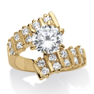2.66 TCW Round Cubic Zirconia 14k Yellow Gold-Plated Bypass Ring Glam CZ