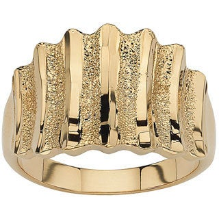 14k Yellow Gold-Plated Textured Concave Ring Tailored