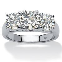 Platinum over Sterling Silver Cubic Zirconia 3 Stone Engagement Ring - White