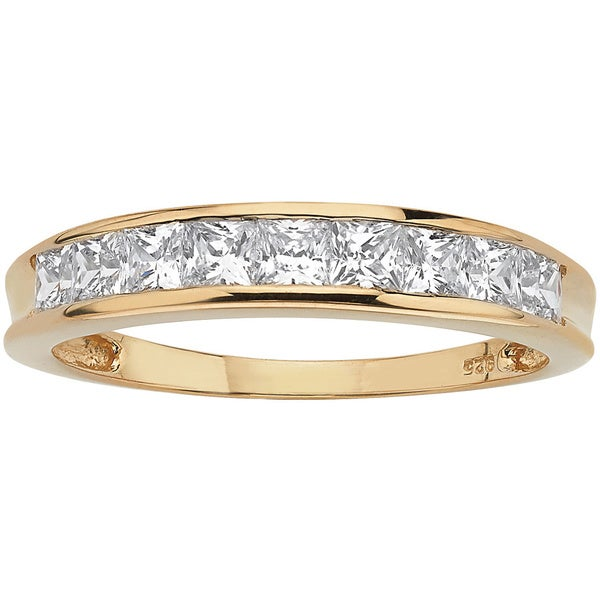 .81 TCW Princess-Cut Cubic Zirconia Anniversary Ring in 18k Gold over Sterling Silver Clas