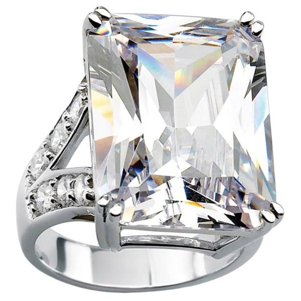 27.10 TCW Emerald-Cut Cubic Zirconia Platinum-Plated Ring Glam CZ