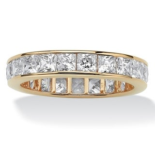 PalmBeach 5.29 TCW Princess-Cut Cubic Zirconia Eternity Channel Ring in 18k Gold over Sterling Silver Classic CZ