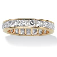 Gold over Sterling Silver Cubic Zirconia Eternity Bridal Ring - White