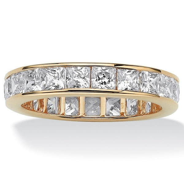 5.29 TCW Princess-Cut Cubic Zirconia Eternity Channel Ring in 18k Gold over Sterling Silve