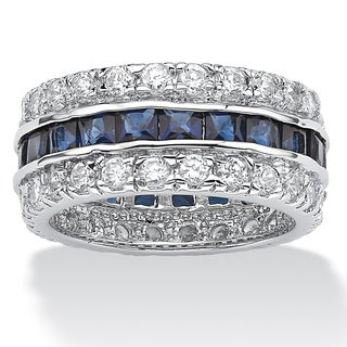 PalmBeach 6.66 TCW Princess-Cut Blue Cubic Zirconia White Cubic Zirconia Accent Silvertone Eternity Band Glam CZ