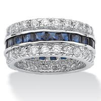 Silver Tone Blue Cubic Zirconia Eternity- Bridal Ring - White