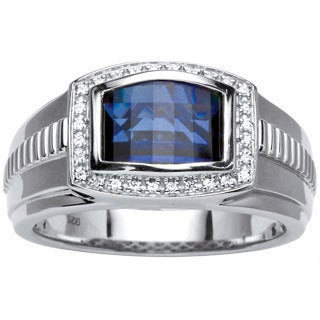 Men's 2.97 TCW Blue and White Sapphire Ring in Platinum over Sterling Silver