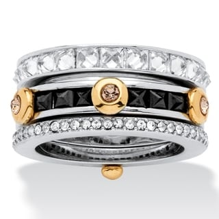 PalmBeach 3.69 TCW Princess-Cut Cubic Zirconia and Crystal Ring in Silvertone and Yellow Gold Tone Bold Fashion