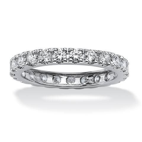 10K White Gold Cubic Zirconia Eternity- Bridal Ring