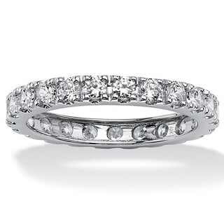 10K White Gold Cubic Zirconia Eternity- Bridal Ring
