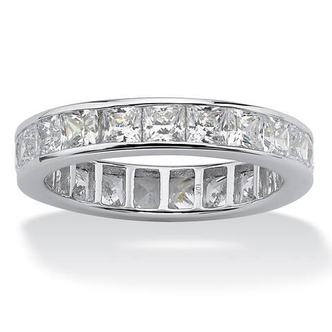 10K White Gold Cubic Zirconia Channel Set Eternity- Bridal Ring