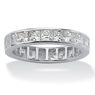 5.29 TCW Princess-Cut Cubic Zirconia Eternity Band in 10k White Gold Classic CZ