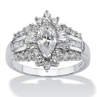 PalmBeach 2.19 TCW Marquise-Cut Cubic Zirconia With Round and Baguette Accents Ring in 10k White Gold Glam CZ
