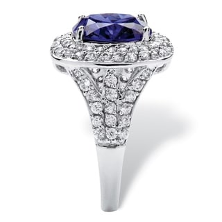 4.10 TCW Cushion-Cut Tanzanite Cubic Zirconia Halo Ring in Silvertone Color Fun