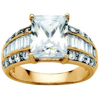 4.83 TCW Emerald-Cut Cubic Zirconia Ring in 18k Gold over Sterling Silver Glam CZ