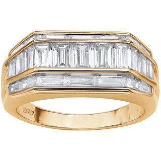 Men's 4.28 TCW Channel Set Baguette Cubic Zirconia Ring in 18k Gold over Sterling Silver