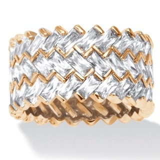 PalmBeach 9.66 TCW Baguette Chevron Cubic Zirconia Eternity Ring in 14k Gold over Sterling Silver Glam CZ