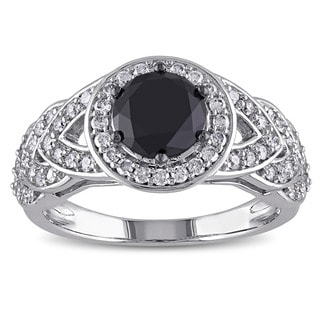 Miadora Signature Collection 10k White Gold 2ct TDW Black and White Diamond Ring