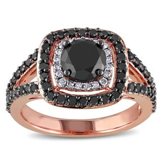 Miadora 14k Rose Gold 2ct TDW Black and White Diamond Double Halo Ring (H-I, I2-I3)