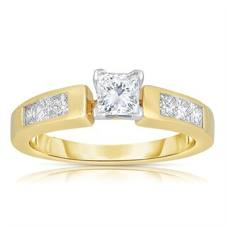 Eloquence 18k Yellow Gold 1ct TDW Princess Cut Solitaire Diamond Engagement Ring (H-I, SI1-SI2)