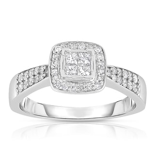 Eloquence 14k White Gold 1/2ct TDW Princess Cut Composite Halo Diamond Engagement Ring