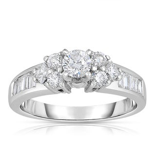 Eloquence 14k White Gold 1 1/10ct TDW Round and Baguette Diamond Engagement Ring (H-I, I1-I2)