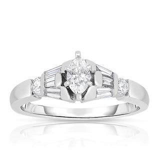 Eloquence Platinum 5/8ct TDW Marquise Cut Solitaire Diamond Engagement Ring (H-I, I1-I2)