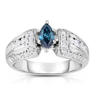 Eloquence 14k White Gold 7/8ct TDW Marquise Cut Blue Diamond Engagement Ring (Blue, I1-I2)