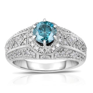 Eloquence 14k White Gold 1 1/2ct TDW Blue Solitaire Diamond Engagement Ring (Blue, I1-I2)