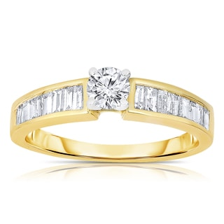 Eloquence 14k Yellow Gold 9/10ct TDW Solitaire Brilliant Diamond Engagement Ring (I-J, I1-I2)