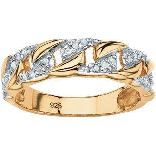 1/10 TCW Round Diamond Curb-Link Ring in 18k Gold Over .925 Sterling Silver