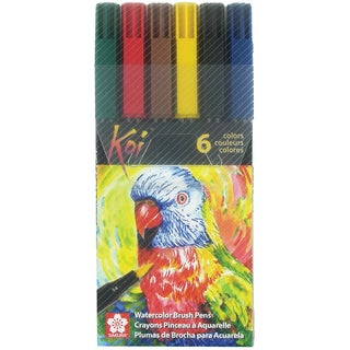 Koi Coloring Brush Pens 6/Pkg-Assorted