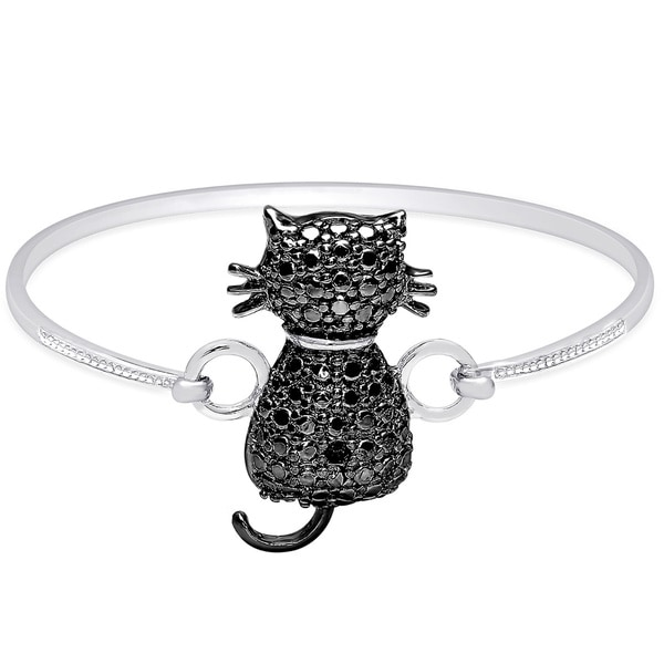 Finesque Gold over Sterling Silver Diamond Accent Cat Bangle