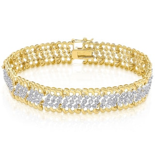 Finesque Goldplated Sterling Silver 2ct TDW Diamond Link Bracelet (I-J, I2-I3)