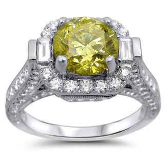 Noori 18k White Gold 3ct Canary Yellow and White Round-cut Diamond Engagement Ring